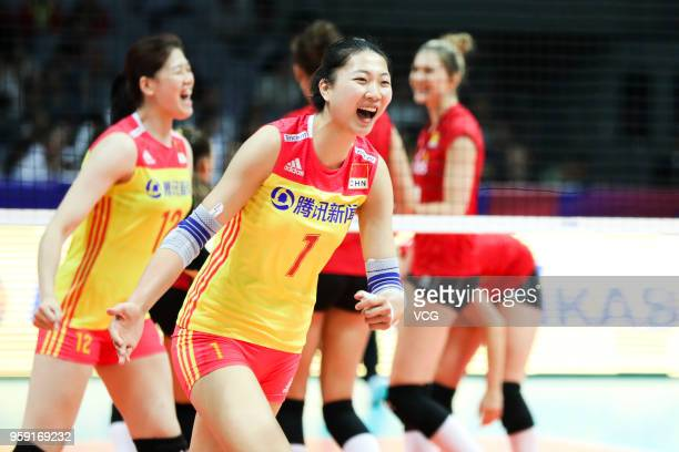 Xinyue Yuan of China celebrates a point against Belgium during the FIVB Volleyball Nations League 2018 at Beilun Gymnasium on May 16 2018 in Ningbo...