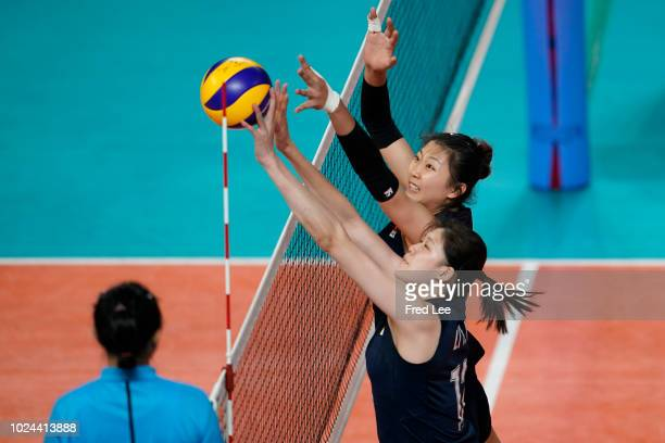 Xinyue Yuan of China in action during the Asian Games 2018 Volleyball Women's Group B between China and India on day nine of the Asian Games on...