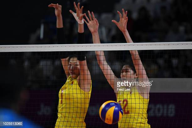 Xinyue Yuan of China in action during the Asian Games 2018 Volleyball Women's Semifinals between China and Japan on day thirteen of the Asian Games...