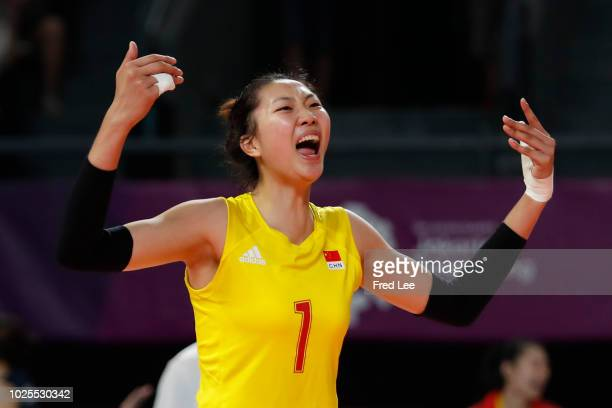 Xinyue Yuan of China reacts during the Asian Games 2018 Volleyball Women's Semifinals between China and Japan on day thirteen of the Asian Games on...