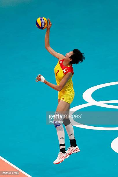 Xinyue Yuan of China serves during the Women's Gold Medal Match between Serbia and China on Day 15 of the Rio 2016 Olympic Games at the Maracanazinho...