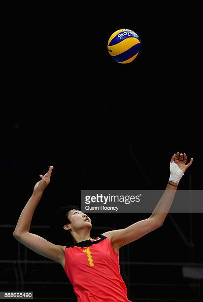 Xinyue Yuan of China serves during the Women's preliminary volleyball match between Serbia and China on Day 7 of the Rio 2016 Olympic Games at...