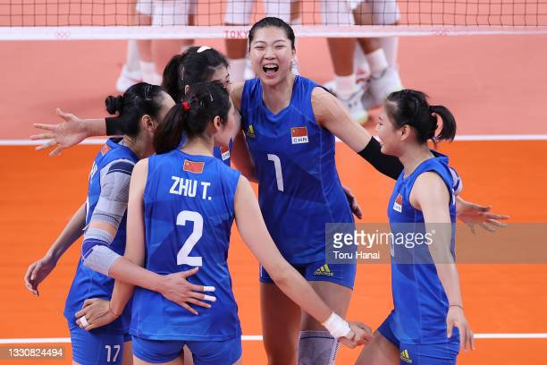 Xinyue Yuan of Team China celebrates against Team United States during the Women's Preliminary - Pool B volleyball on day four of the Tokyo 2020...