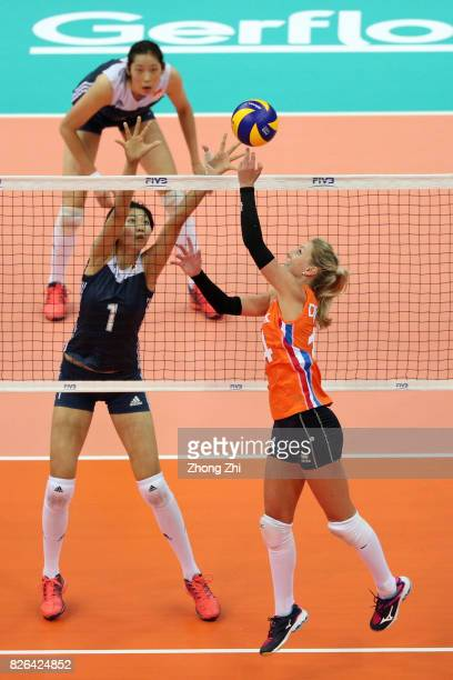 Xinyue Yuna of China in action against Laura Dijkema of the Netherlands during the match between China and the Netherlands during 2017 Nanjing FIVB...