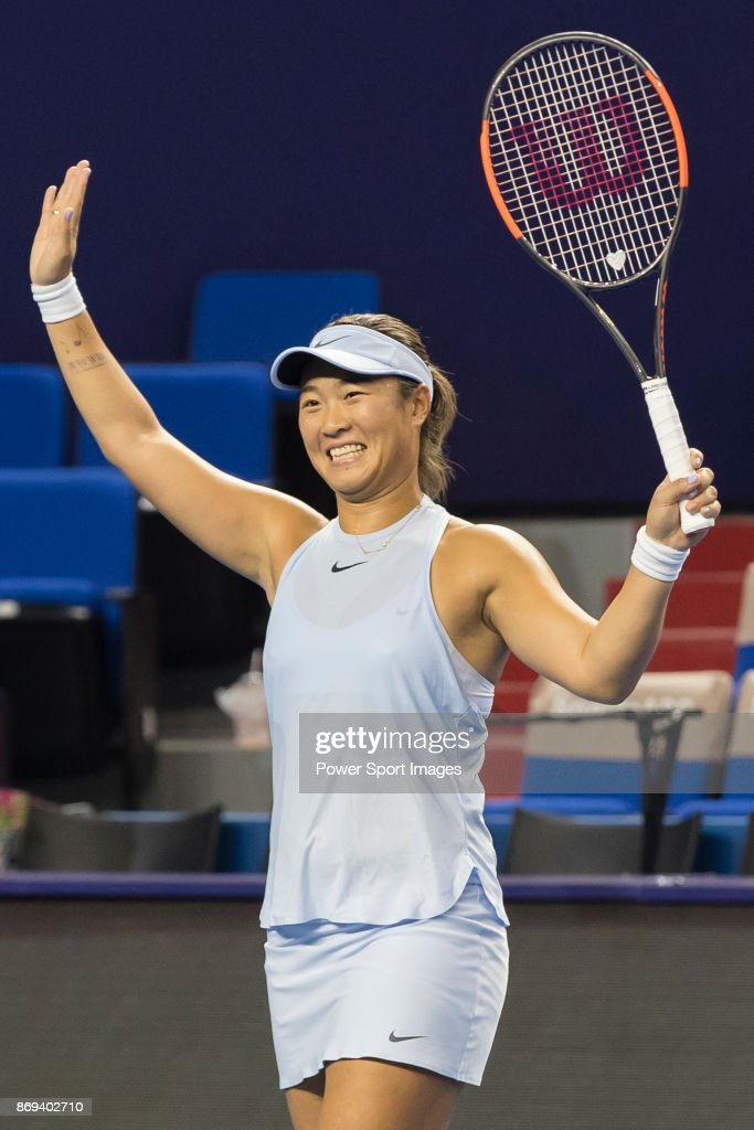 Xinyun Han and Ying-Ying Duan (Not in picture) of China celebrates winning the doubles Round Robin match of the WTA Elite Trophy Zhuhai 2017 against Raluca Olaru of Romania and Olga Savchuk of Ukraine at Hengqin Tennis Center on November 02, 2017 in Zhuhai, China.