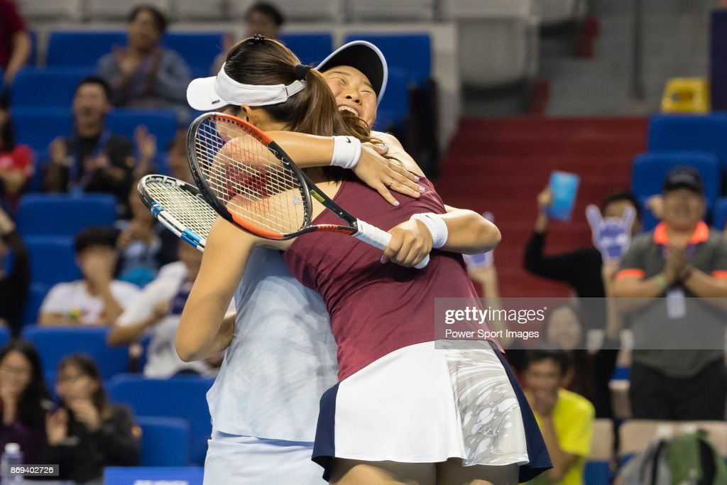 Xinyun Han and Ying-Ying Duan of China celebrates winning the doubles Round Robin match of the WTA Elite Trophy Zhuhai 2017 against Raluca Olaru of Romania and Olga Savchuk of Ukraine at Hengqin Tennis Center on November 02, 2017 in Zhuhai, China.