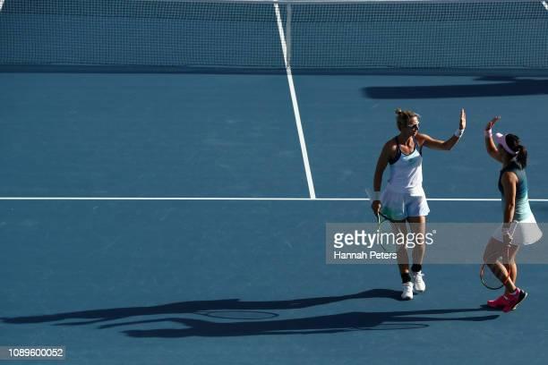 Xinyun Han of China and Darija Jurak of Croatia during the Women's doubles semi final match against Eugenie Bouchard of Canada and Sofia Kenin of USA...