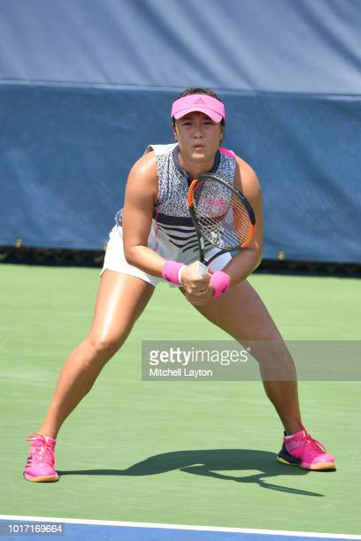 Xinyun Han of China prepares for a shot during the Women's Doubles final against Alexa Guarachi of Chile and Erin Routliffe of New Zealand on Day...