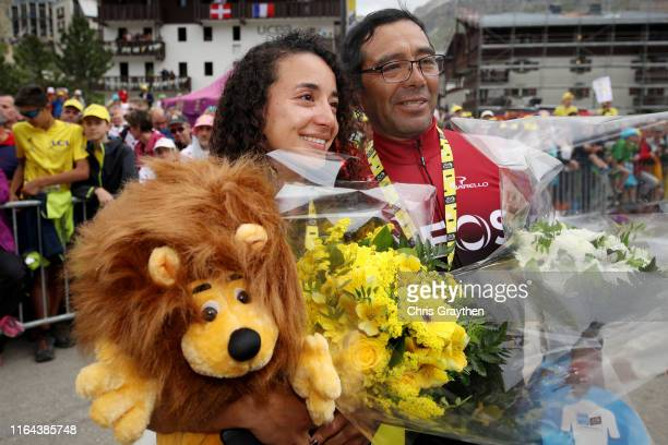 Xiomara Guerrero and Germán Bernal of Colombia girlfriend and father of Egan Bernal of Colombia and Team INEOS Yellow Leader Jersey / Celebration /...