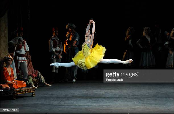 """Xiomara Reyes as Medora with artists of the company in American Ballet Theatre's production of """"Le Corsaire"""" at the London Coliseum."""