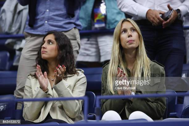 Xisca Perello and Maria Isabel Nadal celebrate Rafael Nadal of Spain defeating Andrey Rublev of Russia after their Men's Singles Quarterfinal match...