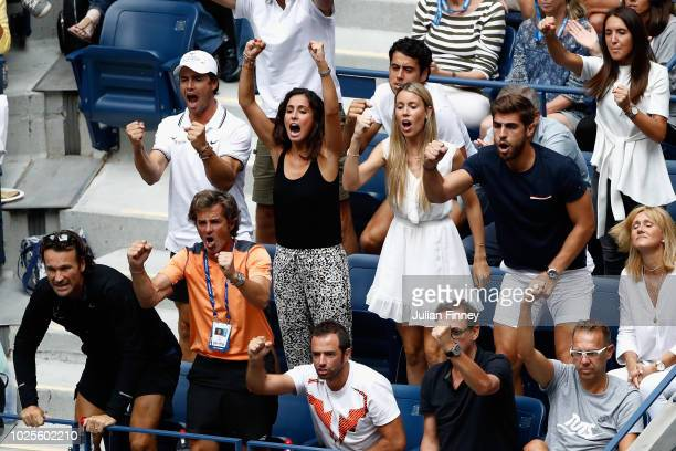 Xisca Perello and Maria Isabel react as Nadal Rafael Nadal of Spain plays his men's singles third round match against Karen Khachanov of Russia on...