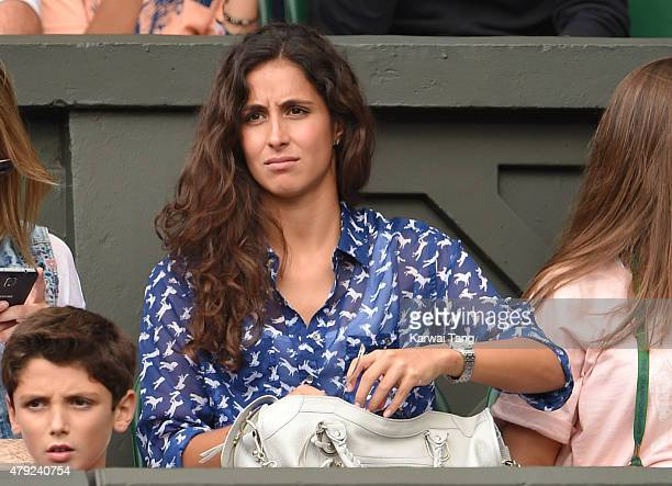 Xisca Perello attends the Dustin Brown v Rafael Nadal match on day four of the Wimbledon Tennis Championships at Wimbledon on July 2, 2015 in London,...