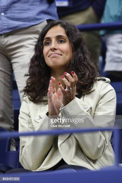 Xisca Perello celebrates Rafael Nadal of Spain defeating Andrey Rublev of Russia after their Men's Singles Quarterfinal match on Day Ten of the 2017...