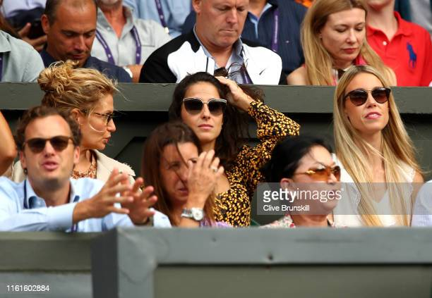 Xisca Perello girlfriend of Rafael Nadal and Maria Isabel Nadal sister of Rafael Nadal look on during Day eleven of The Championships Wimbledon 2019...