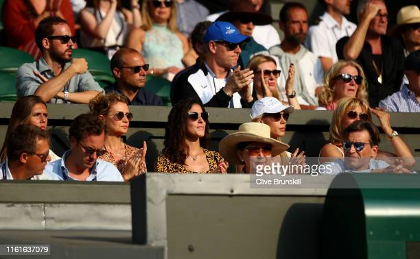 Xisca Perello girlfriend of Rafael Nadal and Maria Isabel Nadal sister of Rafael Nadal look on in the Men's Singles semifinal match between Roger...