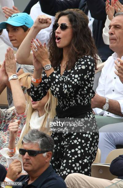 Xisca Perello, girlfriend of Rafael Nadal of Spain cheers for him during the men's final on day 15 of the 2019 French Open at Roland Garros stadium...