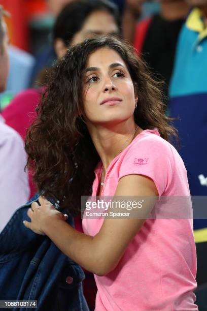 Xisca Perello, girlfriend of Rafael Nadal of Spain, smiles after his quarter final match against Frances Tiafoe of the United States during day nine...