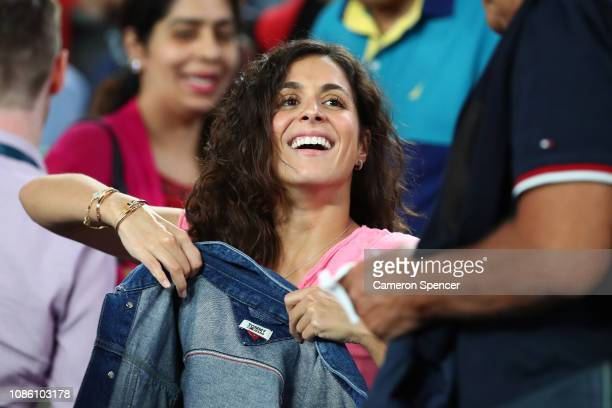 Xisca Perello girlfriend of Rafael Nadal of Spain smiles after his quarter final match against Frances Tiafoe of the United States during day nine of...