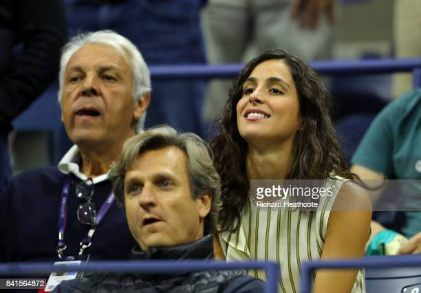 Xisca Perello girlfriend of Rafael Nadal of Spain watches Andreas Seppi of Italy he plays Taro Daniel of Japan in their second round Men's Singles...