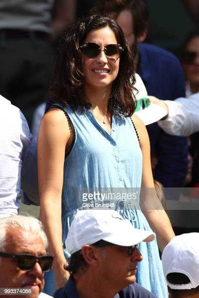 Xisca Perello girlfriend of Rafael Nadal of Spain watches as he plays Alex De Minaur of Australia during their Men's Singles third round match on day...