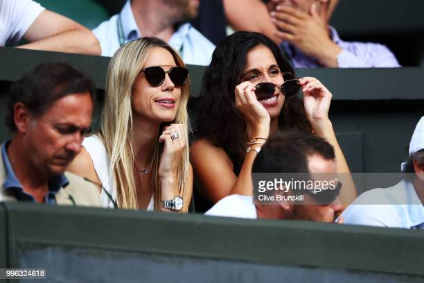 Xisca Perello girlfriend of Rafael Nadal of Spain watches as he plays Juan Martin Del Potro of Argentina during their Men's Singles QuarterFinals...