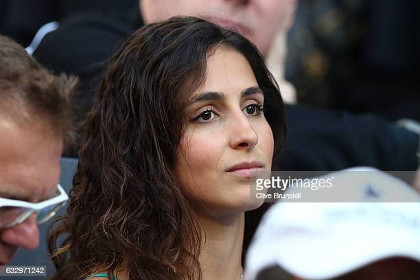 Xisca Perello girlfriend of Rafael Nadal of Spain watches him play his Men's Final match against Roger Federer of Switzerland on day 14 of the 2017...