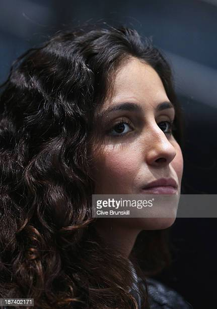 Xisca Perello girlfriend of Rafael Nadal of Spain watches his men's singles match against Tomas Berdych of the Czech Republic during day five of the...