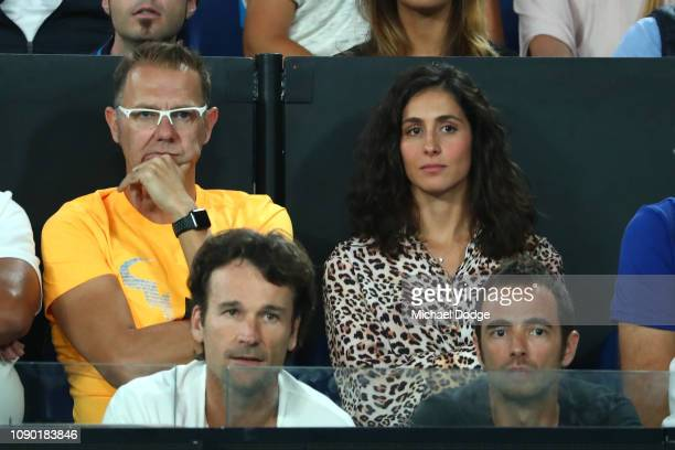 Xisca Perello partner d of Rafael Nadal of Spain watches the Men's Singles Final match between Novak Djokovic of Serbia and Rafael Nadal of Spain...
