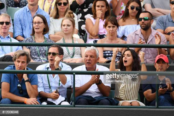 Xisca Perello partner of Rafael Nadal of Spain celebrates during his Gentlemen's Singles fourth round match against Gilles Muller of Luxembourg on...
