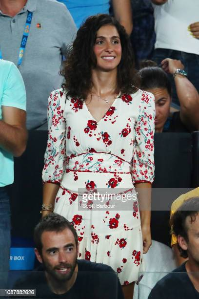 Xisca Perello partner of Rafael Nadal of Spain in the audience at his Men's Semi Final match against Stefanos Tsitsipas of Greece during day 11 of...