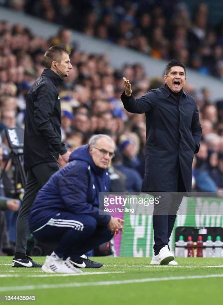 Xisco, Manager of Watford FC gives their team instructions during the Premier League match between Leeds United and Watford at Elland Road on October...