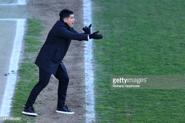 Xisco, Manager of Watford FC reacts during the Sky Bet Championship match between Luton Town and Watford at Kenilworth Road on April 17, 2021 in...