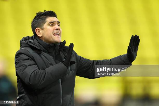 Xisco Munoz, Head Coach of Watford gives his team instructions during the Sky Bet Championship match between Watford and Norwich City at Vicarage...