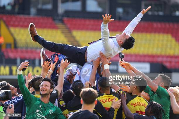 Xisco Munoz, Head Coach of Watford is thrown into the air by Players of Watford as their side are Promoted to the Premier Leagueduring the Sky Bet...