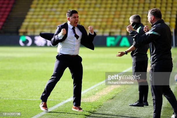 Xisco Munoz, Manager of Watford celebrates on the final whistle as their side are promoted to the Premier League during the Sky Bet Championship...