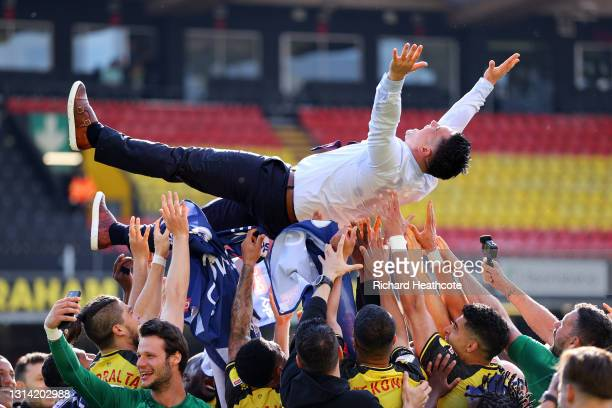 Xisco Munoz, Manager of Watford is thrown into the air by Players of Watford as their side are Promoted to the Premier League during the Sky Bet...
