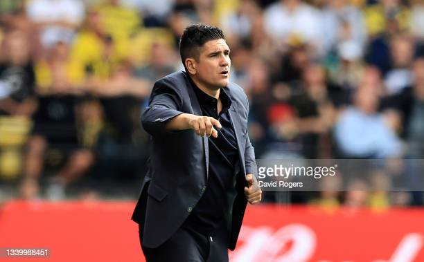 Xisco Munoz, the Watford manager, issues instructions during the Premier League match between Watford and Wolverhampton Wanderers at Vicarage Road on...