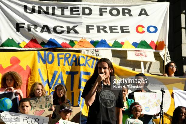 Xiuhtezcatl Martinez a hiphop artist and youth plantiff leads a youth rally on the west steps of the Colorado Capitol Building on February 20 2017 in...