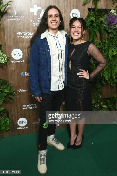 Xiuhtezcatl Martinez and Q'orianka Kilcher attend the Global Green 2019 PreOscar Gala at Four Seasons Hotel Los Angeles at Beverly Hills on February...