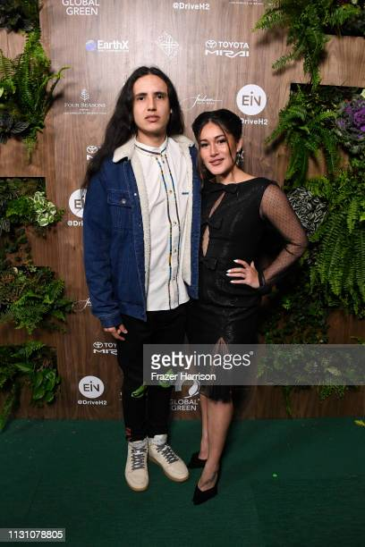 Xiuhtezcatl Martinez and Q'orianka Kilcher attends the Global Green 2019 PreOscar Gala at Four Seasons Hotel Los Angeles at Beverly Hills on February...