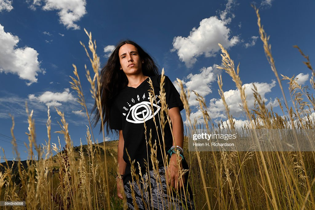 Portrait of young environmental activist Xiuhtezcatl Martinez in Boulder, Colorado. : News Photo