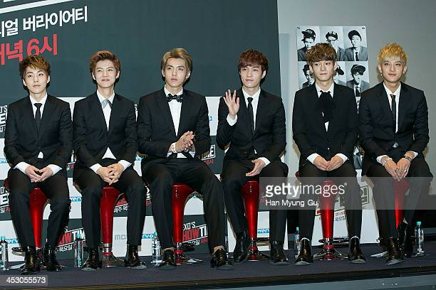 Xiumin Lu Han Kris Lay Chen and Tao of boy band EXOM attend the MBC Every1 'EXO's ShowTime' press conference at CVG on November 28 2013 in Seoul...