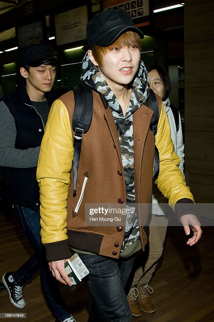 Xiumin of boy band EXO-M is seen at Incheon International Airport on January 19, 2013 in Incheon, South Korea.