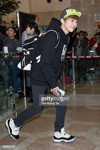 Xiumin of boy band EXOM is seen on departure at Gimpo International Airport on October 25 in Seoul South Korea