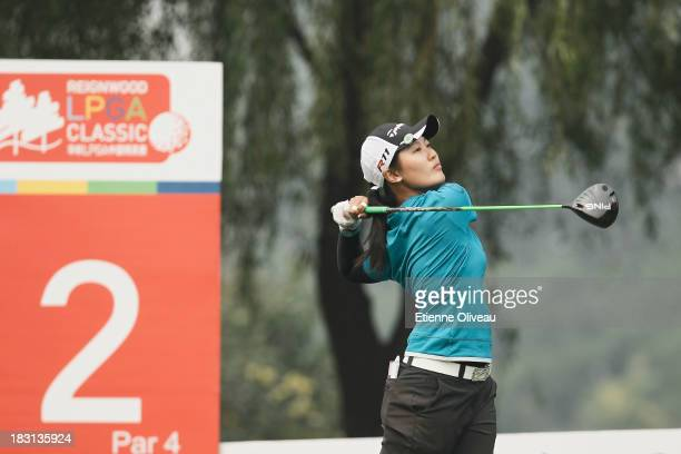 Xiyu Lin of China plays a tee shot during the third round of the Reignwood LPGA Classic at Pine Valley Golf Club on October 5 2013 in Beijing China