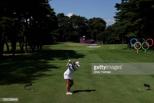 Xiyu Lin of Team China plays her shot from the 16th tee during the first round of the Women's Individual Stroke Play on day twelve of the Tokyo 2020...
