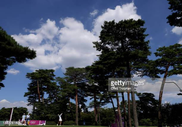Xiyu Lin of Team China plays her shot from the 18th tee during the first round of the Women's Individual Stroke Play on day twelve of the Tokyo 2020...
