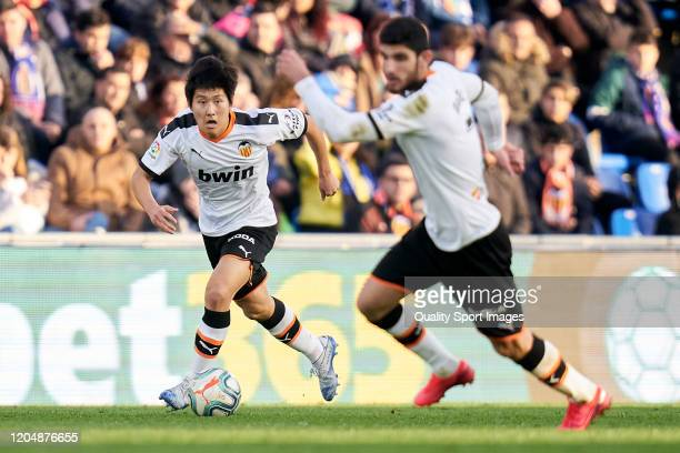 XKangin Lee of Valencia CF runs with the ball during the Liga match between Getafe CF and Valencia CF at Coliseum Alfonso Perez on February 08 2020...