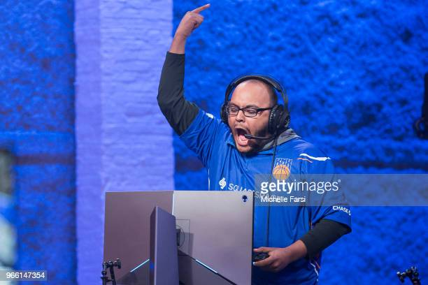 xKPMR of Knicks Gaming gets hyped during the game against Raptors Uprising Gaming Club on June 2 2018 at the NBA 2K League Studio Powered by Intel in...